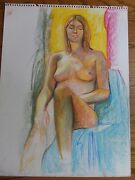 Oil Pastel Life Drawing ・nude Female With Natural Light 18x24 Inch Page Only