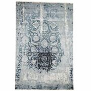 6and039x9and0392 Blue Erased Design Wool And Silk Hand-knotted Oriental Rug R46285