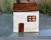 Handmade Ceramic Pottery House Bank With Hole In Chimney