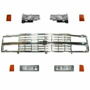 Headlight Parking Light Lamp Chrome Grill Front Kit 9 Piece For Chevy Truck Suv