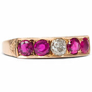 Victorian Um 1900 Antique Ring With Rubies And Diamonds 750 Gold Ruby Diamond