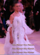 B4961 Ostrich Feather Swing Tango Waltz Smooth Dance Competition Dress Us 6