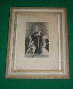 Old Etching Madonna Meyer Family Hans Holbein Pinxt Mezzotint Picture Mother Day