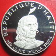 1971 Haiti 10 Gourdes 1.5oz Silver Proof Indian Chief Red Cloud Oglala Sioux