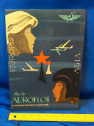 Rare Russian Advertising Sign Aeroflot Fly By Airplane Jet Europe Asia Vtg Art