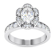 1.1 Ct Gia D Si1 Oval Diamond Engagement Flower Halo Antique Ring 14k White Gold
