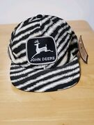John Deere Black And White Stripe Patch Snapback Trucker Hat Cap K Product New Tag