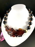 French Depose Black Bead Necklace Molded Tortoise Shell Celluloid Leaf Pendant