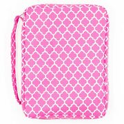 Bible Cover For Girls, Pink Trellis Pattern Book Carrier With Pocket And Handle