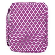 Bible Cover For Girls Purple Trellis Pattern Book Carrier With Pocket And Handle