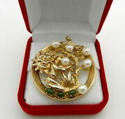 Large Vintage Highly Detailed 14k Gold Tree Of Life Pendant With Pearls And Jade