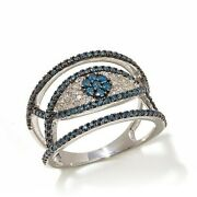 Hsn Rarities 0.75ct Blue And White Diamond Sterling Silver Evil Eye Ring 6
