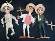 Vintage Mexican Marionettes 14 Puppets Lot Of 3 Or23