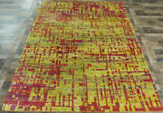 7and039x10and039 New Fine Silk Pile Hand Knotted Modern Abstract Oriental Area Rug