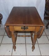 Mid Century Maple Birch Dropleaf End Table / Side Table By Ethan Allen Rp853