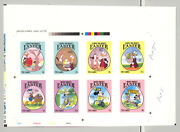 Gambia 1524-1531 Disney Easter 8v Imperf Chromalin Proofs On Collective Sheet