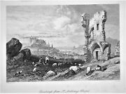 Old Antique Print Edinburgh From St Anthonys Chapel C1870s By Stanfield / Miller