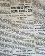 Rare Lz 129 Hindenburg Airship Zeppelin Over Nyc Day Of Disaster 1937 Newspaper