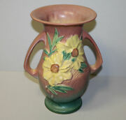 Roseville Pottery Double-handled Peony Vase 66-10 Pink And Green 10 Inches Tall