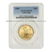2000 25 American Gold Eagle Pcgs Ms70 22kt 1/2 Oz Coin Ultra Low Pop Of Only 36