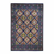 9and039x12and0395 Blue Afghan Ersari Geometric Design Pure Wool Hand-knotted Rug R46855
