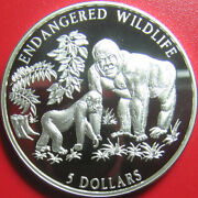 1996 Cook Islands 5 Silver Proof Female Gorilla And Offspring Wildlife Rare Coin