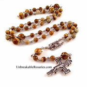 Holy Face Of Jesus Unbreakable Rosary Beads Brown Picture Jasper Italian Medals