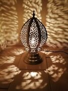 Moroccan Night Light Table Lamp Brass Silvered Decoration Lighting Lampshade Fez