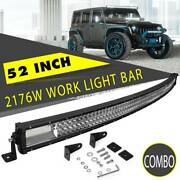 52inch Curved Led Light Bar 2176w Tri Row Spot Flood Combo Offroad Truck 4wd Suv