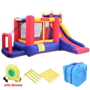Slide Inflatable Bounce House Kids Children Jump Bouncer Castle With 450w Blower