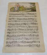 1762 Antique Color Illustrated Music Sheet///a New Scotch Ballad