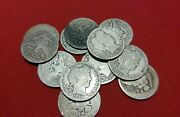 Lot Of 5 Barber Silver Quarter Cull Coins / 1892-1916 / 90 Silver / Antique