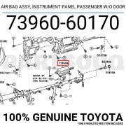7396060170 Toyota Safety Device Assy Instrument Panel Passenger W/o Door