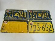 Lot Of 4 1970and039s Pennsylvania Metal License Plates Bicentennial And State Outline