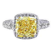 18k Solid White Gold 6.21 Carat Fancy Yellow Radiant Cut Engagment Ring
