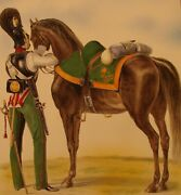 Imperial Russian Lithograph Cavalry Cuirassier 1844 Uniform Hand-colored Poster