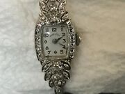 Ladies 14kt White Gold Hamilton Wristwatch And Band Covered In Natural Diamonds