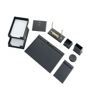Desk Pad Set Calme 10 Pcs Imitation Leather With Document Tray In Gray