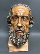 Large Solid Carved Wood Blessed Saint John Head