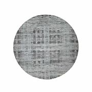 8and039x8and039 Gray Hand Spun Round Undyed Natural Wool Modern Oriental Rug R45677