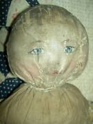 Very Early Antique, Cloth Doll, Primitive Oil Painted Features, Antique Clothing