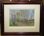 Xiaogang Zhu Impressionist Horses Pasture Listed Chinese/american Western Artist