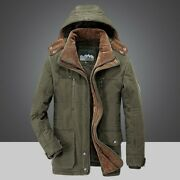 Menand039s Cotton Jacket Winter Hooded Long Sleeve Trench Coat Warm Overcoat Parka