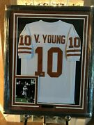 Vince Young Texas Longhorns Autographed Jersey Custom Framed With Coa
