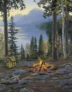 Darrell Bush A Room With A View Canvas Ap 7/19 Camping Fishing