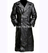 Menand039s Leather Jacket Classic Officer Military German Trench Coat Double Breasted