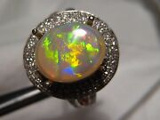 2.88 Ct Opal And Diamond Ring 14 K White Gold Stunning Color