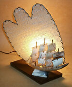 Vintage Horn Ship Boat Marine Tv Lamp With Fiberglass Diffuser Tested Working