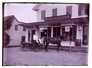 Glass Negative Allison Grocery Store 3 Delivery Wagon Horse And Driver Dublin Nh