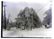 Glass Negative Street West Of Leffingwell Hotel Dublin Nh Winter Ice Storm 1900